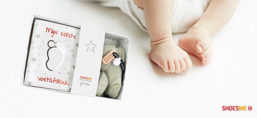 BABYPROOF KRAAMCADEAU, shoeme kraamcadeau, bijzonder kraamcadeau, afdruk babyvoetje