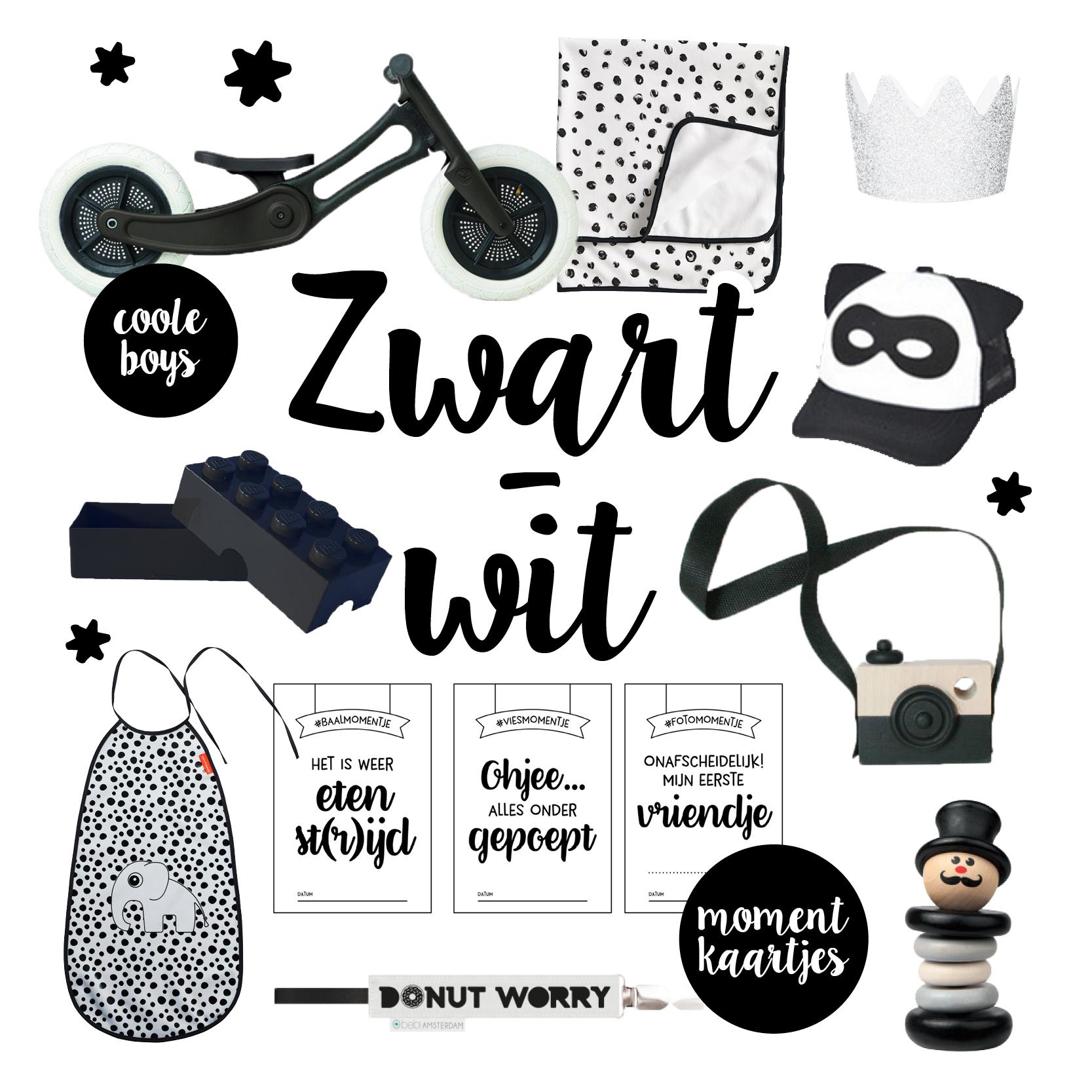 Zwart wit baby cadeaus, zwartwit babykamer, zwartwit baby spullen