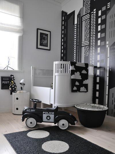 babykamer voorbeelden, hippe babykamers, babykamer jongens, zwart wit babykamer