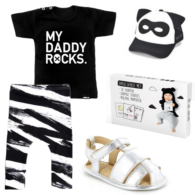 monochrome babykleding, vaderdag cadeau, baby musthaves