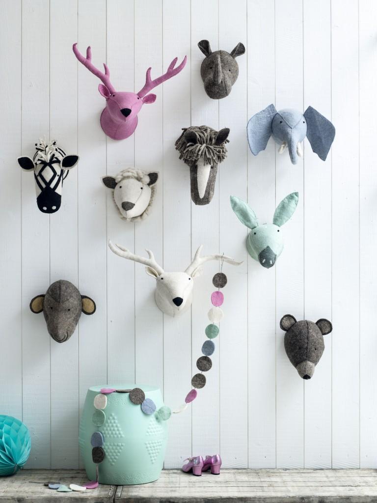 Vilten dierenhoofden, babykamer, kinderkamer accessoires