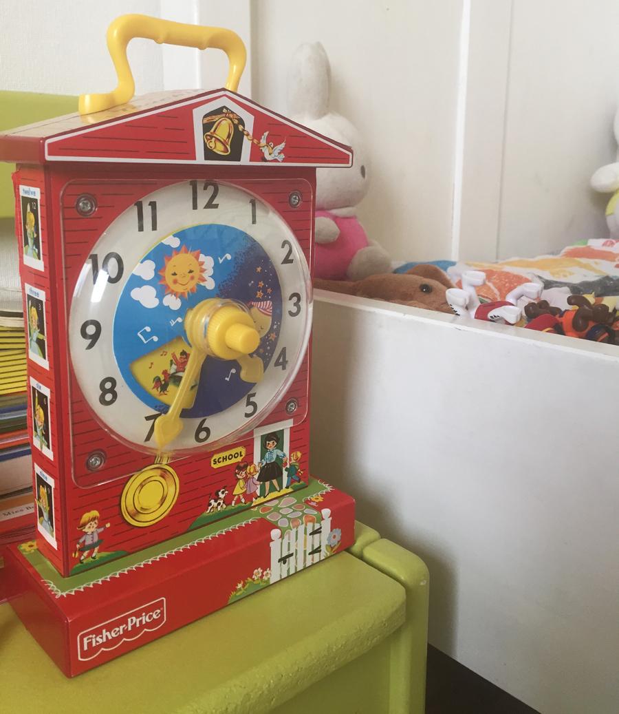 leerklok fisher price, retro speelgoed, klok fisher price, leren klokkijken
