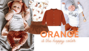orange babykleding, babylabel