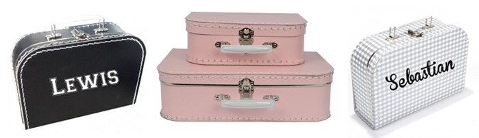baby koffertjes, koffertjes met naam, uniek kraamcadeau, gepersonaliseerd kraamcadeau