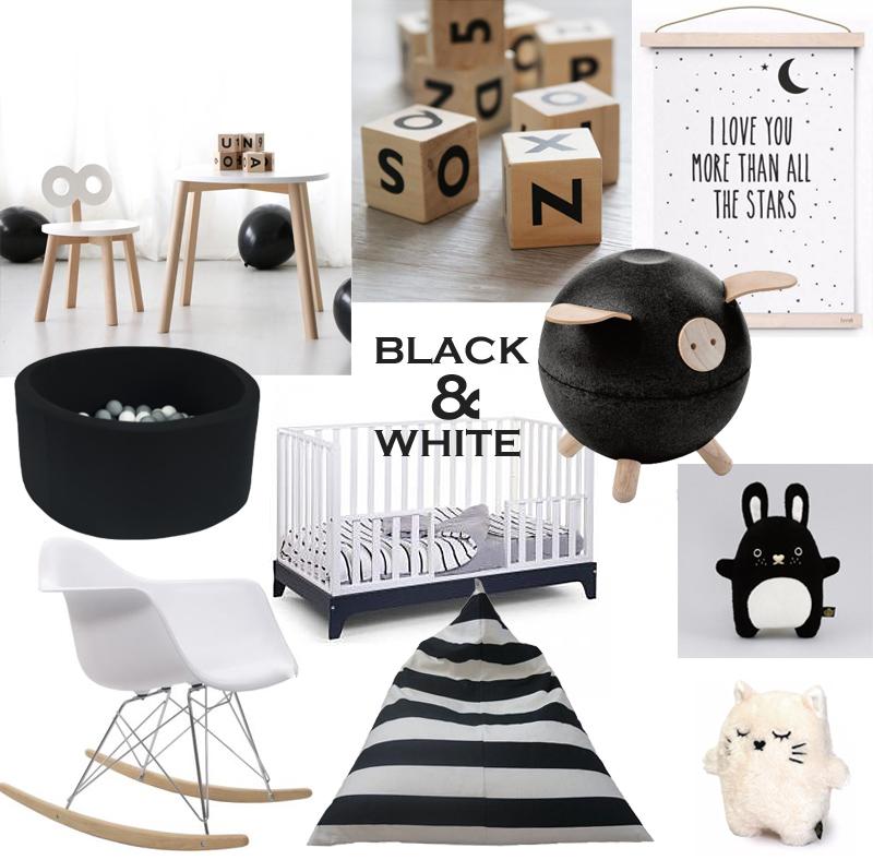 zwart wit babykamer accessoires