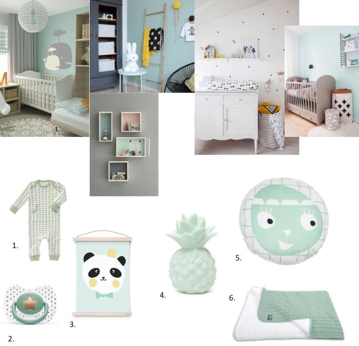 babykamer accessoires mint groen | babylabel, Deco ideeën