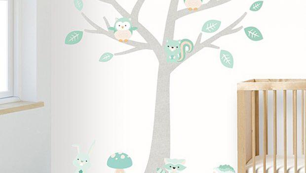 babykamer muursticker, bomen muurstickers
