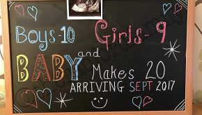 aankondiging zwanger in groot Brits gezin