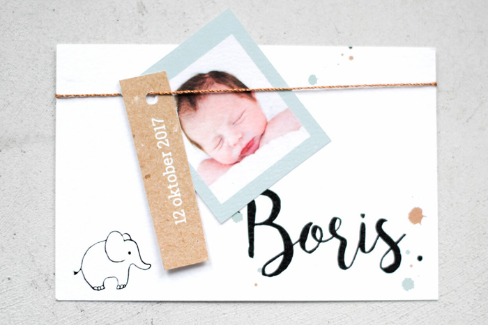 labels aan het geboortekaartje, hippe geboortekaartjes, babylabel