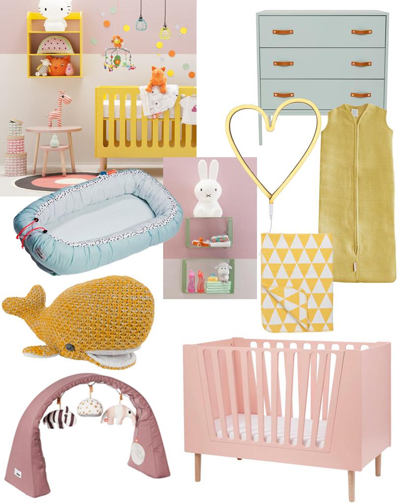 kleur op babykamer, babykamers met kleur