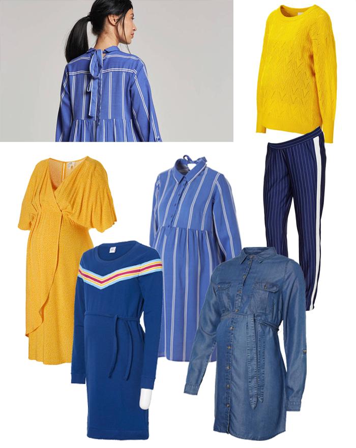 zwangerschapskleding, gele zwangerschapskleding, gele positiejurk, blauwe positiekleding
