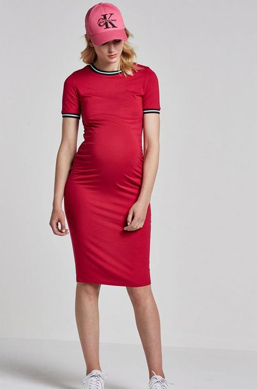zwangerschapsjurk rood, zwangerschapsmode, positiemode, zwangerschapskleding zomer 2018, babylabel, mum-to-be