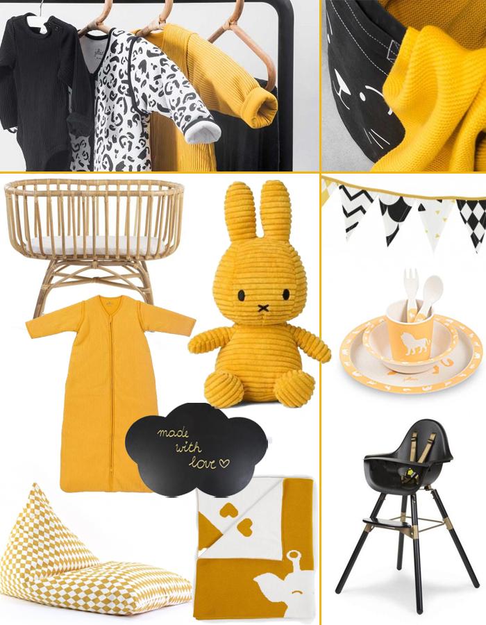 gele babykamer accessoires, babykamer inspiratie geel zwart
