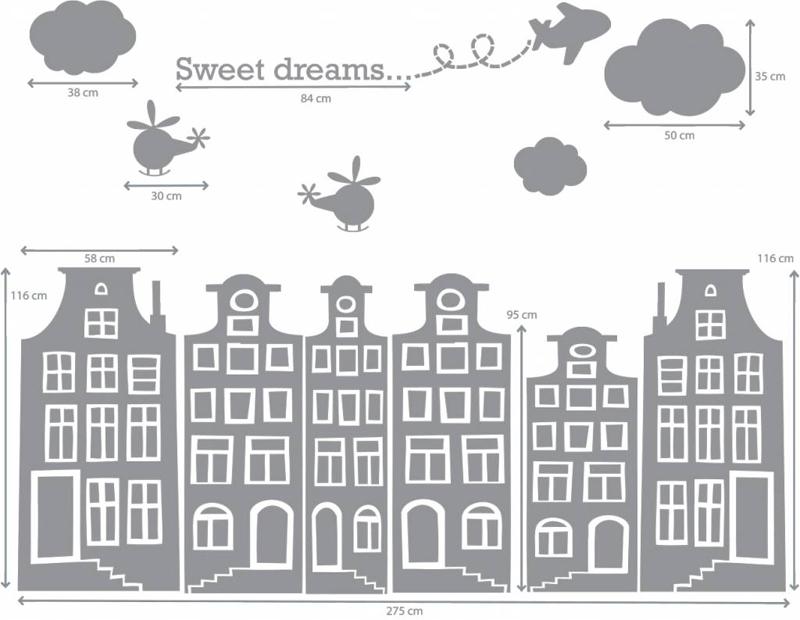 Grachtenhuisjes muurstickers voor kinderen