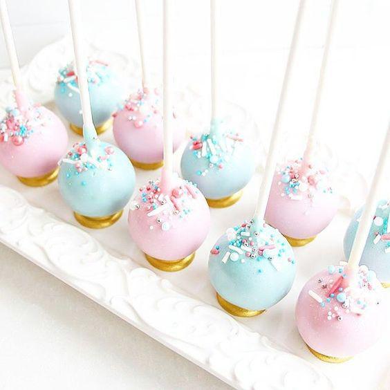 baby gender reveal cake pops