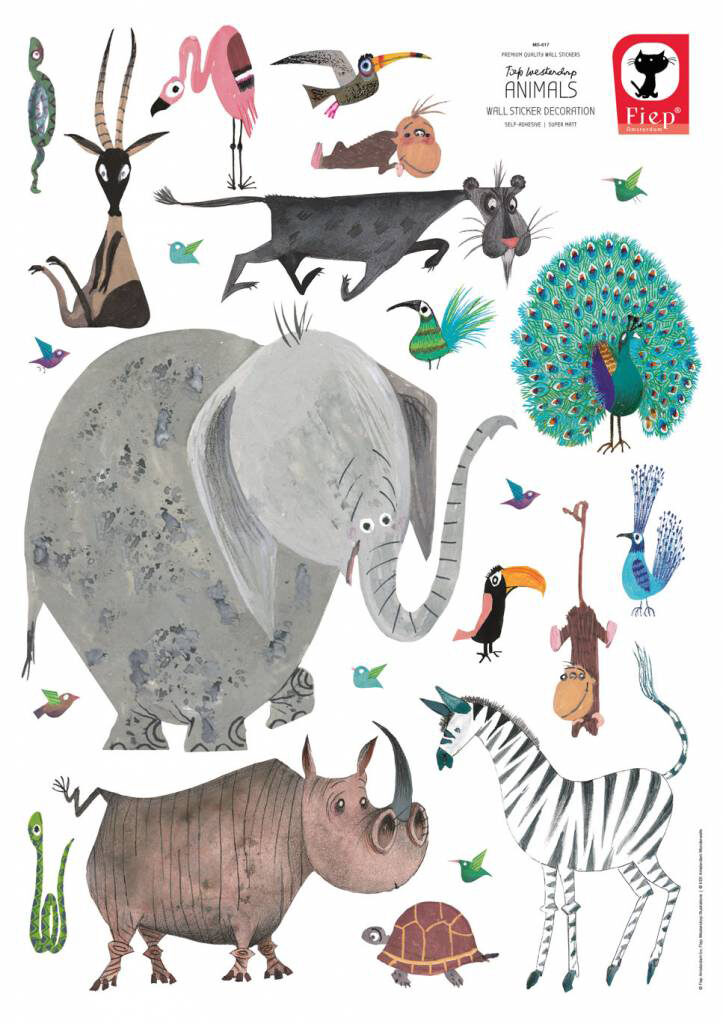 Muurstickers van Fiep Westendorp, dieren muursticker kinderkamer, dieren muurstickers babykame, olifanten muursticker