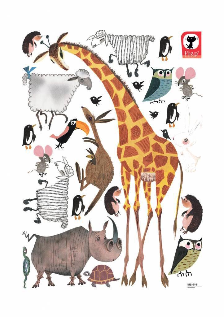 Muurstickers van Fiep Westendorp, dieren muursticker kinderkamer, dieren muurstickers babykamer, giraf muursticker