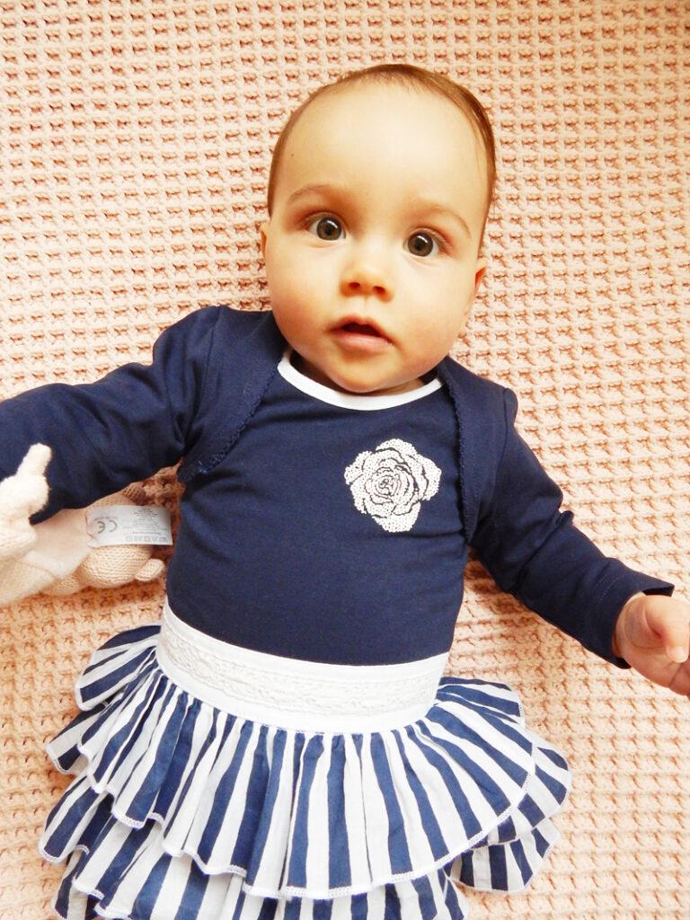 babyjurkje, donkerblauw babyjurkje, feestjurk baby