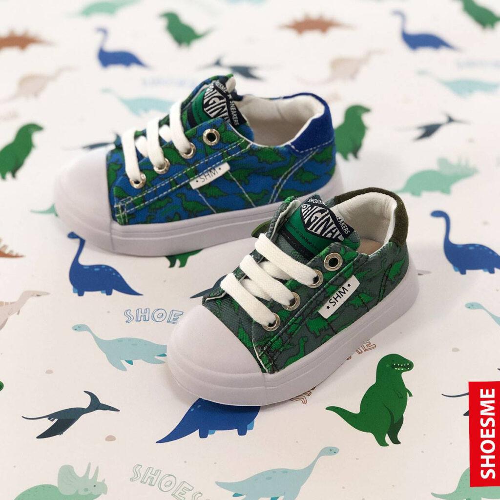 eerste sneakers, meisjessneakertjes, babyschoenen winnen, dino sneakers, schoen met dinoprint