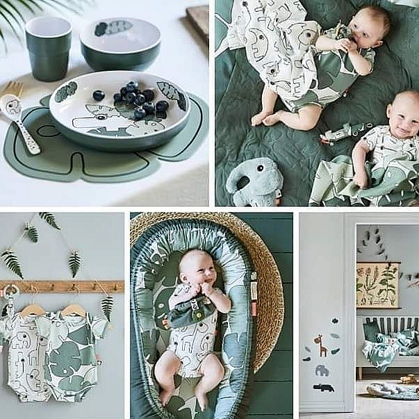 tiny tropics, babycollectie done by deer, groene babyspullen, tropische babykamer, tropische baby print