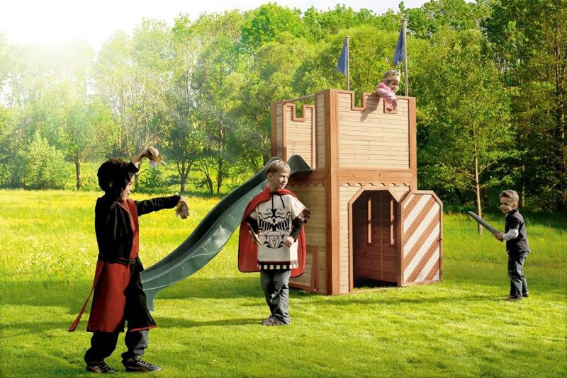 houten speeltoestellen, houten speel kasteel