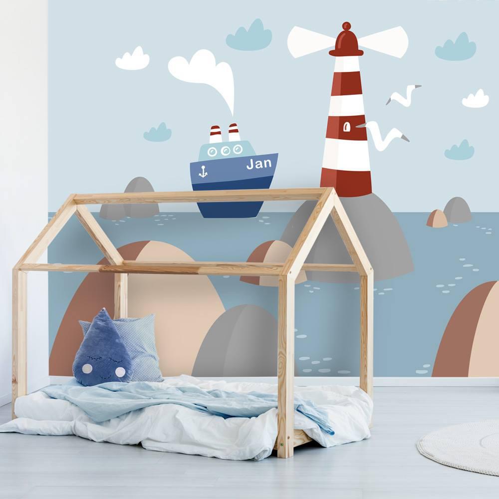 marine kamer, kinderbehang met naam, behang met boten