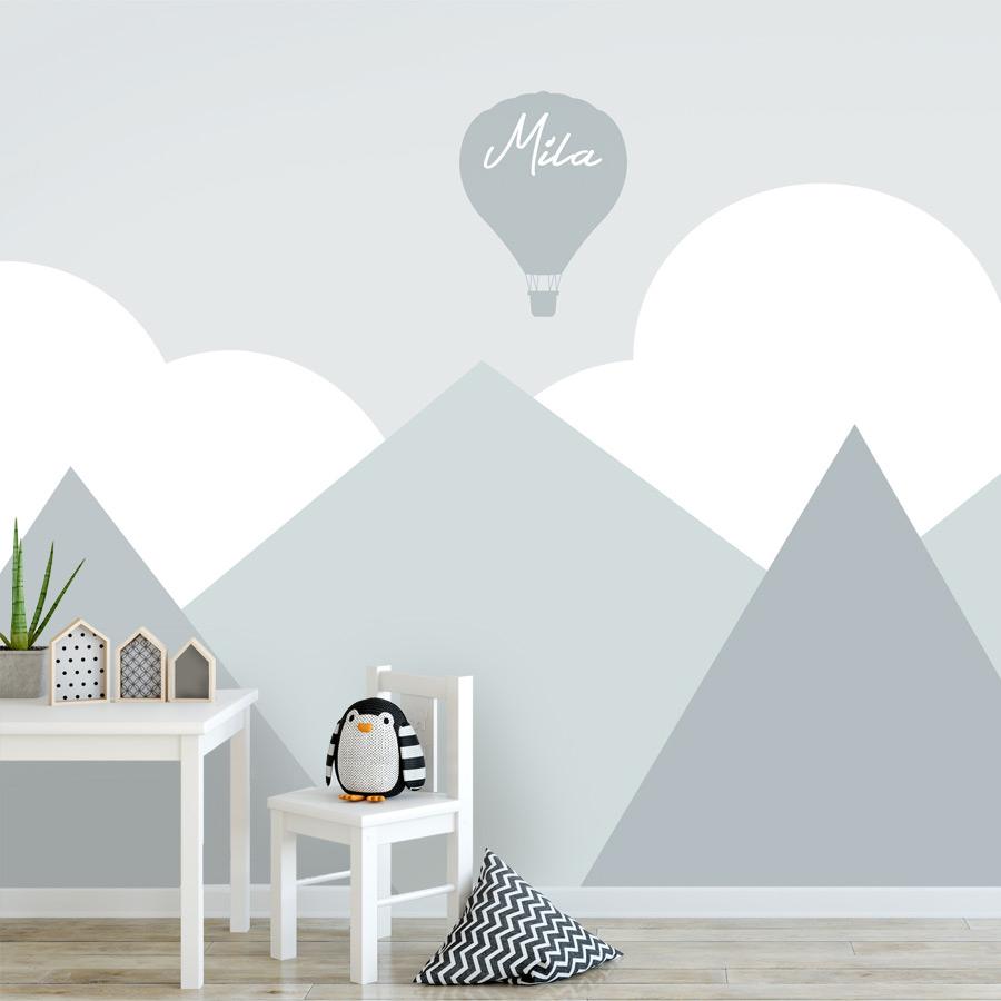 kinderbehang met naam, behang wolken en bergen mint