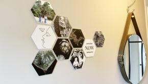 fotocadeau, hexagon foto. foto aan de muur, wanddecoratie met foto's