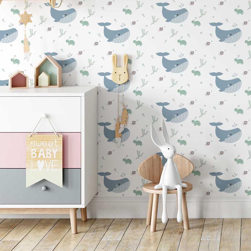 walvis behang, behang walvisprint, babykamer behang, walvis print behang