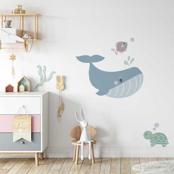 walvis muursticker, sfeer kinderkamer, babykamer muurstickers