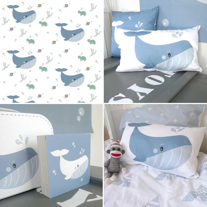 walvis thema, walvis kinderkamer, walvis babykamer, walvis print behang, babykamer inspiratie, baby jongenskamer