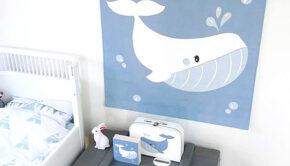wandkleed babykamer, walvis kinderkamer, walvis thema kinderkamer