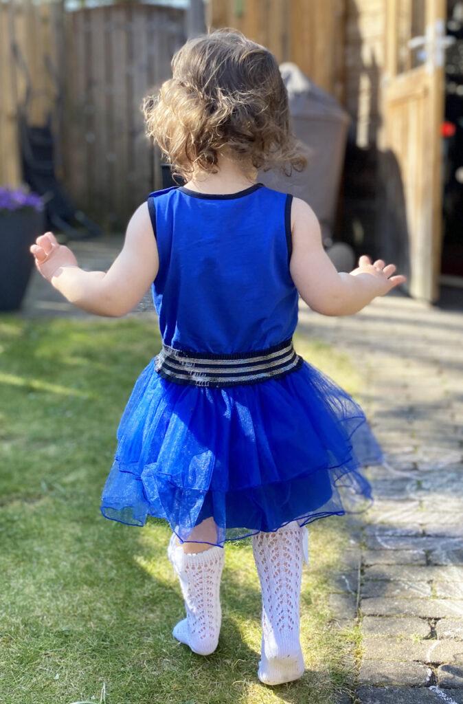 babyjurkje blauw, kobalt blauw jurkje, meisjes jurkje