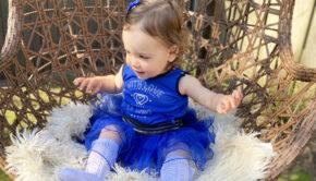 le chic jurkje maat 80, blauw jurkje maat 80, tule jurkje maat 80