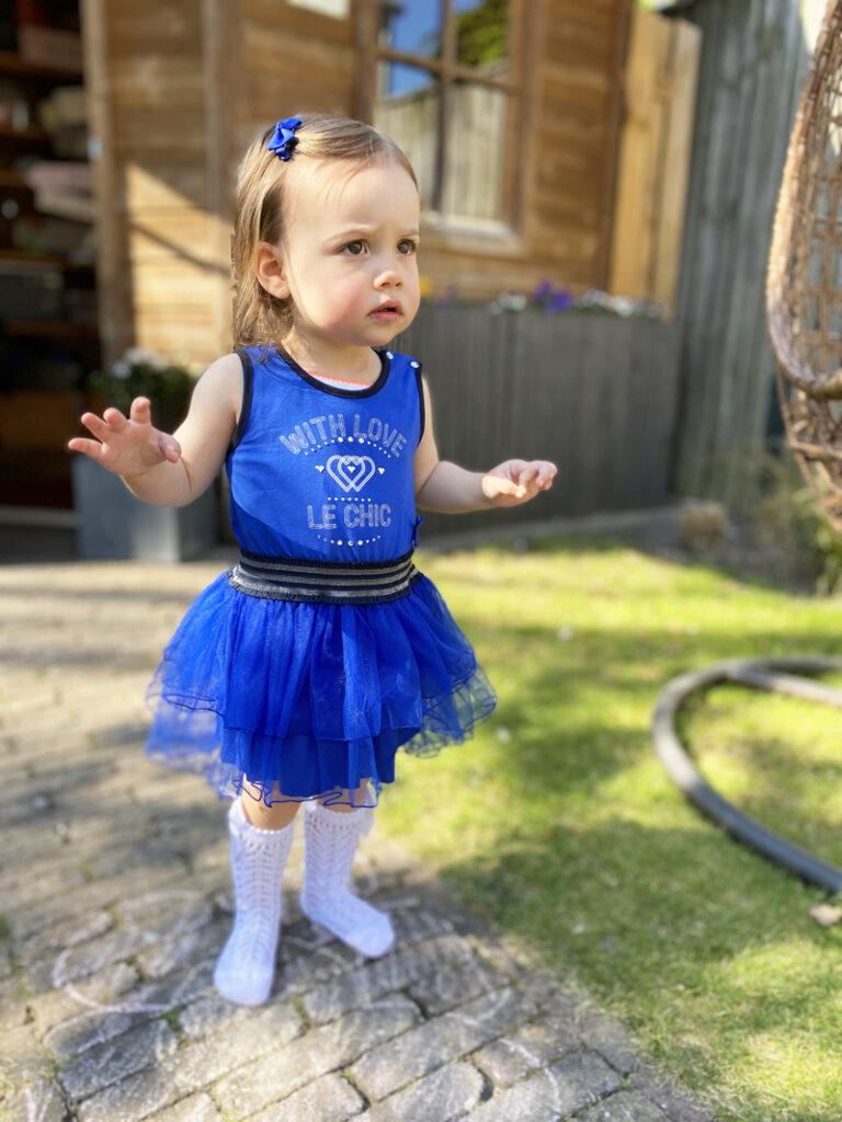 le chic jurkje maat 80, blauw jurkje maat 80, tule jurkje maat 80, babylabel, babykleding