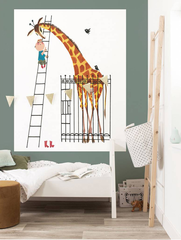 behang fiep westendorp, behang kek amsterdam, hippebeestjes, behang giraf