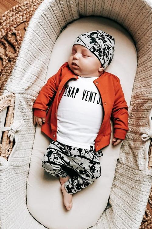 newborn kledingsetje, Oranje babykleding, oranje babyvestje, baby jongen, babykleding jongen