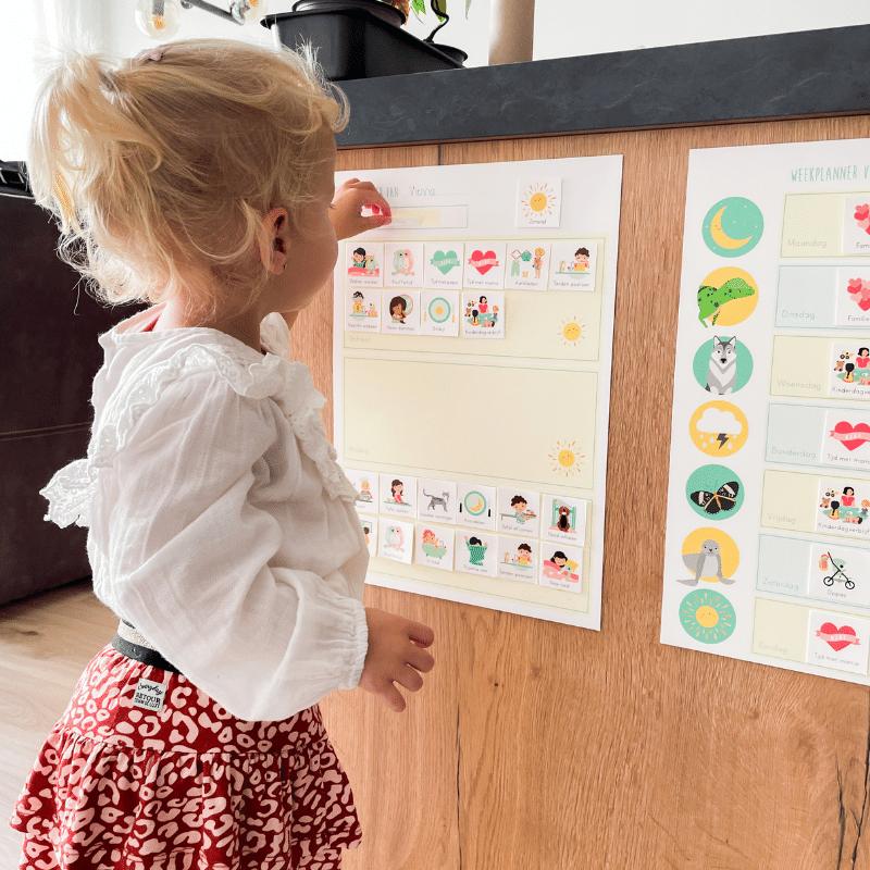 weekplanner, dagplanner, weekplanner met plaatjes, weekplanner gezin, weekplanner kind, weekplanner voor gezin met kleine kinderen, @ontwerp_door_lindy