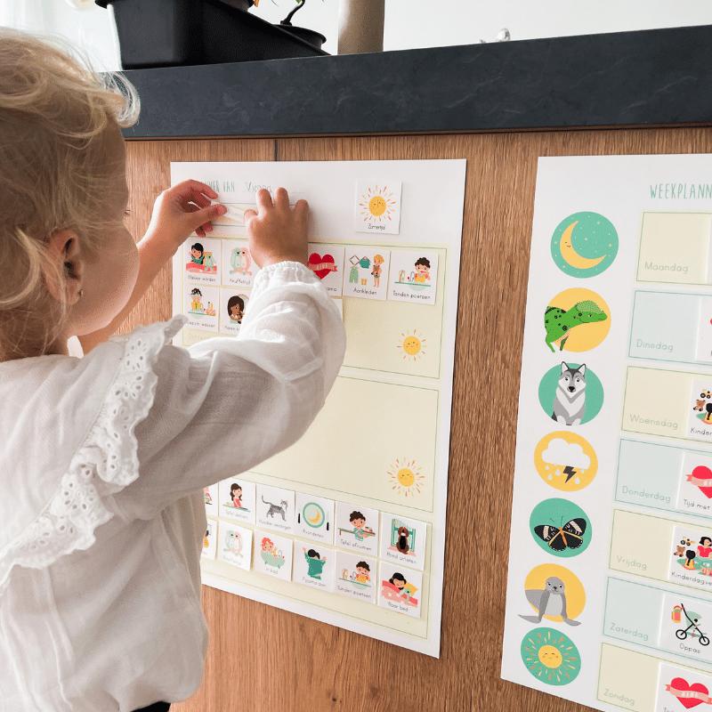 weekplanner, dagplanner, weekplanner met plaatjes, weekplanner gezin, weekplanner kind, planner, kalender gezin, kalender met plaatjes, weekplanner voor gezin met kleine kinderen, @ontwerp_door_lindy