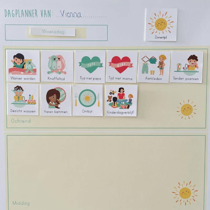 planner, dagritme , dagplanner, planner met plaatjes, kalender met plaatjes, gezin kalender